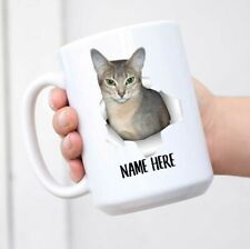 Cute Abyssinian Cat Blue Fur Color Personalized Name White Coffee Mug