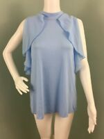 NWT Womens Cable & Gauge Sleeveless Lt. Blue Ruffle Blouse Top Sz XL Extra Large