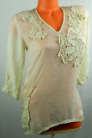 JOHNNY WAS Top TUNIC SHIRT XS X-Small EMBROIDERED FLORAL Ivory BOHO FESTIVAL  ii