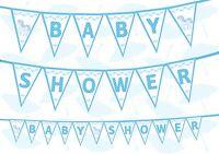 Unicorn Baby Shower Gender Reveal White Baby Blue Bunting Banner 12 flags 8ft