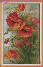 Counted Cross Stitch Kit, Poppies
