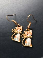 Cat Earrings Ginger Kittens  Charm On 18ct Gold hooks - NEW Free Postage