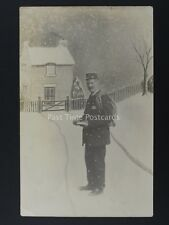Postman Delivers Mail on Wintery Day c1905 RP Postcard by J.E Jukes of Newcastle