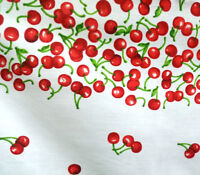 "RED CHERRIES BORDER PRINT WHITE POLY COTTON FABRIC 60"" By the Yard CHERRY THEAM"