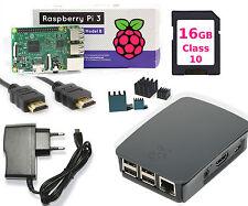 Raspberry PI 3 Set, 16GB SD HDMI Netzteil Original Gehäuse Schwarz UK Version