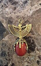 """Gold-Plated Standing Isis Pendant With Red Jasper Gemstone 2-1/2"""""""