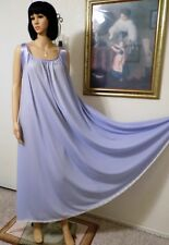 Claire Sandra by Lucie Ann Vtg Satin Banded Sleeve Lilac Nightgown size L large
