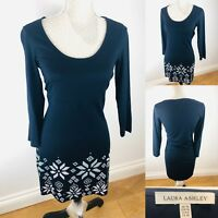 Ladies LAURA ASHLEY Dress Size 10 Navy Blue 3/4 Sleeve Cotton Blend Relaxed New