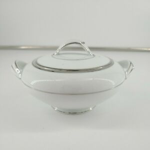 Noritake China Derry White Silver rimmed Mid-Century Sugar Bowl With Lid, 5931