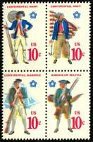 1568a Color Shift ERROR Block of 4 Stamps - 10¢ Bicentennial - Stuart Katz
