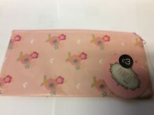 Girls PINK Floral Flowers Fabric Pencil Case Stationery Cosmetics Make Up Bag