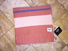 NWT UGG Australia Fringe Beach Throw Blanket Flame Red Plaid Home Collection