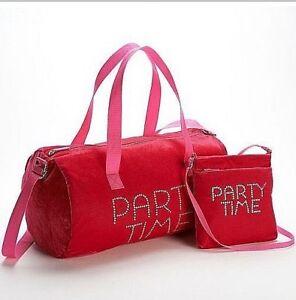 """2 Pieces """"Party Time"""" Velvet Duffle Bag & Crossbody Handbag  Set NWT"""