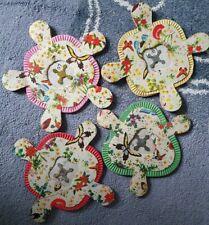 4 Vintage Paper Christmas Lantern Decorations Concertina