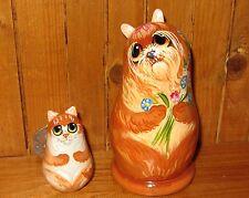 Petit Russe peint à la main poupée Ginger chat Yorkshire Terrier Chien Makarova