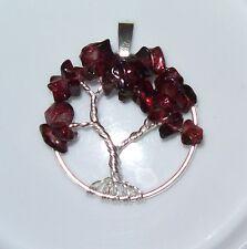 Handmade Tree of Life Pendant Garnet Wire Wrap Silver Gems January Birthstone