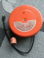Vtg Woods Wire 30-ft Outlet Metal Retractable Reel Cord Wire Heavy Duty