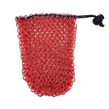 Stainless Steel Chainmail Dice Bag - Red by Norse Foundry