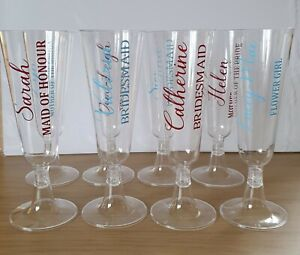 PERSONALISED WEDDING DAY CHAMPAGNE PLASTIC FLUTE NAME BRIDESMAID MAID OF HONOUR