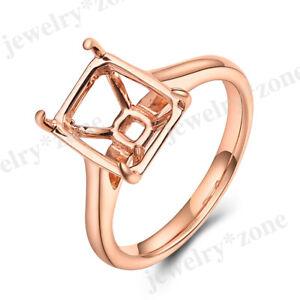 Women's Semi Mount Ring Emerald/Cushion/Radiant Cut 10x8mm Solid 10K Rose Gold