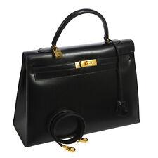 Authentic HERMES KELLY 35 2way Hand Bag Black Box Calf Vintage France BT12918