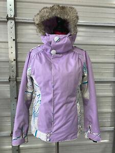 Oakley Snowboard Jacket - Womens XS - Regular Fit - Purple Fur Hood Ski Snow