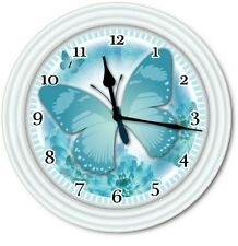 Butterfly Wall Clock - Turquoise Blue Kitchen Bedroom Home Decor - GREAT GIFT