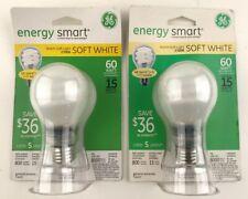 (2) GE Compact Fluorescent Bulb, 15 Watt, A19 Globe, Soft White 74437