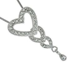 3 Hearts W Swarovski Crystal Family Love Heart Pendant Necklace