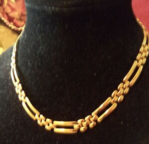 """Vintage Monet Gold Tone Large Open Panther Style Link  Necklace 17"""""""