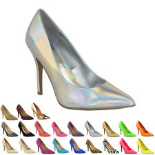 4877086da07 Womens Ladies Mid High Heel Party Prom Stiletto Court Shoes Size 6