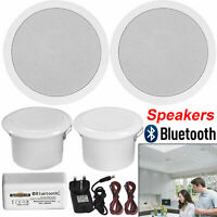 30W Bathroom Kitchen Ceiling Speakers and Wireless Bluetooth Amplifier System UK