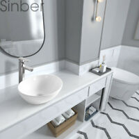 "Sinber 16"" x 13"" Oval Ceramic Bathroom Vanity Vessel Sink Above Counter Basin"