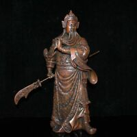 "15.4"" Collect Chinese Bronze Guan Gong Yu Warrior God Hold Knife Statue"