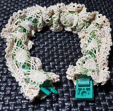 Hand CROCHETED LACE DOG COLLAR SHEATH Cream+Green w/ NEW S-M-L Nylon Collar