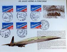 FRANCE FEUILLET PHILATÉLIQUE CEF 20 DE JULES VERNE A CONCORDE   AVION 1976