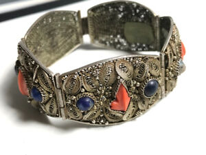Antique Chinese Silver Filigree Bracelet with Coral