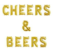 """CHEERS & BEERS Letter Balloons - Beer Bar Sign - Alcohol - 16"""" Gold - US SHIP"""