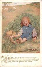 Nursery Rhyme Little Boy Blue Asleep in Field w/ Horn c1915 Postcard