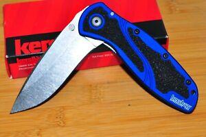 Kershaw 1670NBSW Blur Tactacil Knife Sandvik 14C28N blade blue anodized handle U