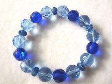 Electric & Sky Blue Faceted Glass Crystal Bead Bracelet - Handmade - BN