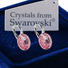 925 Sterling Silver Earrings *Light Rose* Genuine 12mm Crystals from Swarovski®