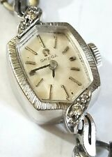 Omega Vintage Ladies Solid 14K White Gold Diamond Watch