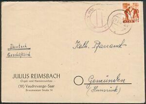 SAAR Brief mit Mi.-Nr.215 orig. gelaufen über Saarlouis nach Gemünden 25.5.1947