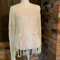 LC LAUREN CONRAD Cream Open Knit Short Sleeve Sweater Crochet sz M BOHO