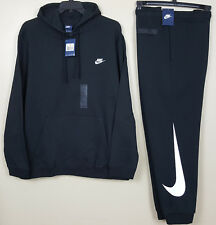 NIKE FLEECE SWOOSH SWEATSUIT HOODIE + SWEATPANTS BLACK WHITE RARE NEW (SIZE 3XL)