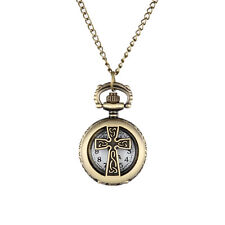 Hot Celtic Cross Hollow Pocket Watch Locket Necklace Chain Watch Antique Bronze