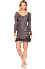 Betsey Johnson Women's Waffle Knit and Lace Sleepshirt, Spot on Grey Leopard, L