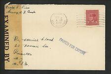 Postal History Canada Scott #251 Censored Export 1942 Sussex NB to Princeton NJ