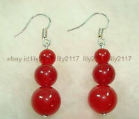 Natural beauty 8-12mm Red Jade 3 Beads Round Gems Silver Hook Dangle Earring AAA